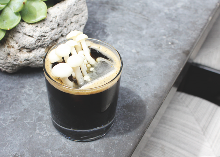 Cafe Gratitude's Black Magic blends Fernet Branca, Black Magic Alchemy's Chaga Mushroom Rootbeer syrup and activated charcoal powder.