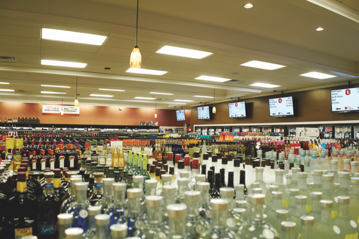 Digital television screens listing products and tablet stations with inventory, price scanners and extensive information about wine, spirits and beer are in every Wine Chateau location.