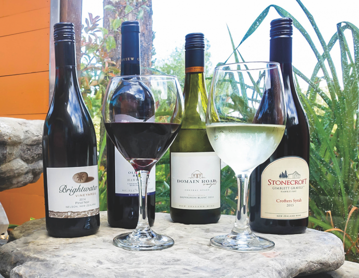 Aroha Restaurant offers over 40 wines from New Zealand (selections above).