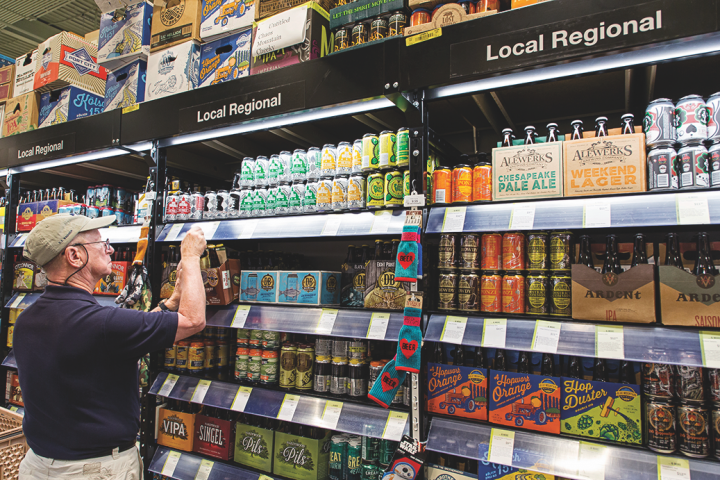 The beer category represents 20 percent of sales at Total Wine, with craft brands—especially regional and hyper-local labels (above)—drawing the most interest.