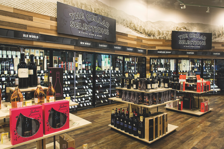 Cabernet Sauvignon and Chardonnay lead wine sales (Cellar Selections section within McLean store pictured), while rosé and Italian and Spanish wines are growing.
