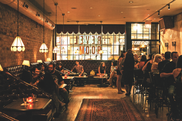 Located in Chicago's Wicker Park, Revel Room specializes in craft cocktails and features a variety of international spirits.