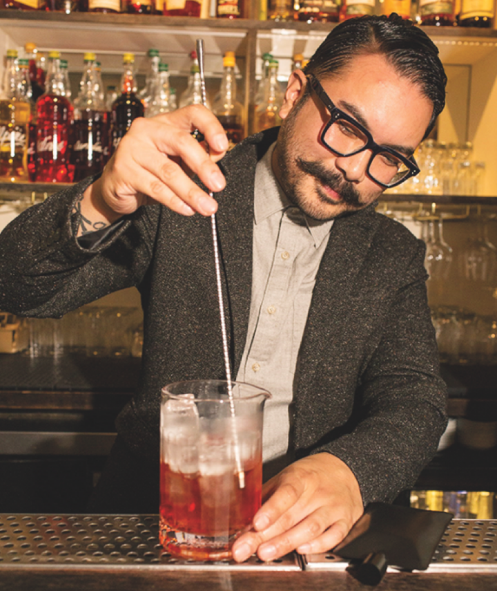 Marlo Gamora, lead bartender at Dante in New York City, favors craft cocktails made with fresh ingredients, as well as tiki drinks.