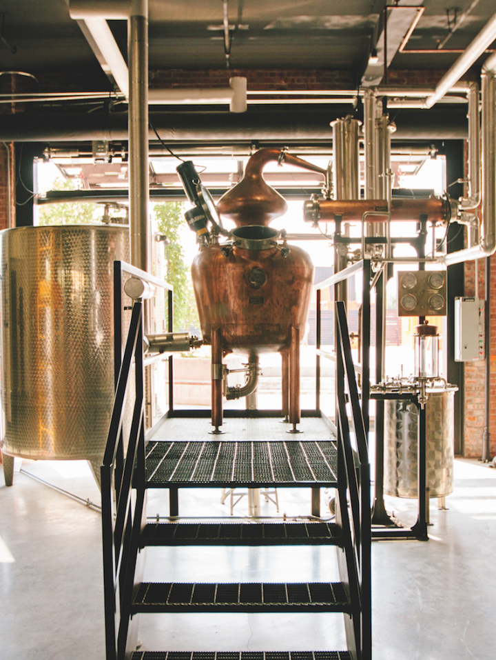 Louisville, Kentucky's Copper & Kings American Brandy Co. (copper still pictured) has played a leading role in the ongoing revitalization of domestic brandy.