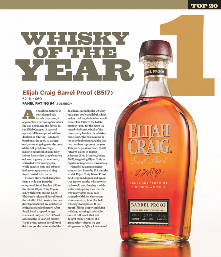 Elijah Craig Barrel Proof was named Whisky of the Year for 2017 by Market Watch sister publication Whisky Advocate.