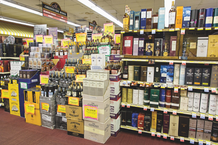 Bourbon, Scotch and Irish whiskies lead spirits sales at Magruder's.