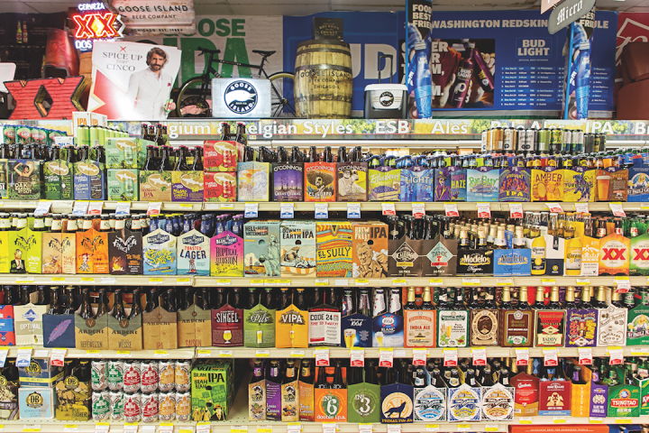 Though beer accounts for just 20 percent of sales at Magruder's, the store offers 800 SKUs, ranging from major domestic brands to esoteric one-offs. Magruder's also features six constantly rotated draft beers for growler fills.