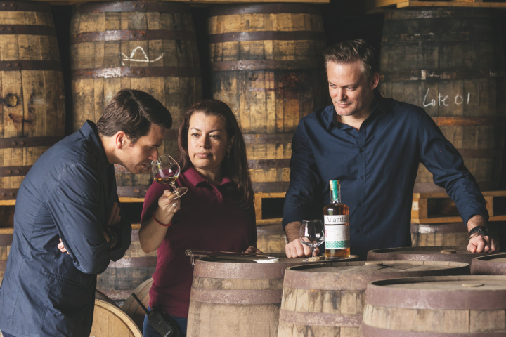 Many Caribbean-based rum producers, including the Dominican Republic's Atlantico Rum (co-owners Aleco Azqueta, left, and Brandon Lieb, right), use solera systems to offset evaporation. Solera-aged rums often list the oldest liquid in the bottle.