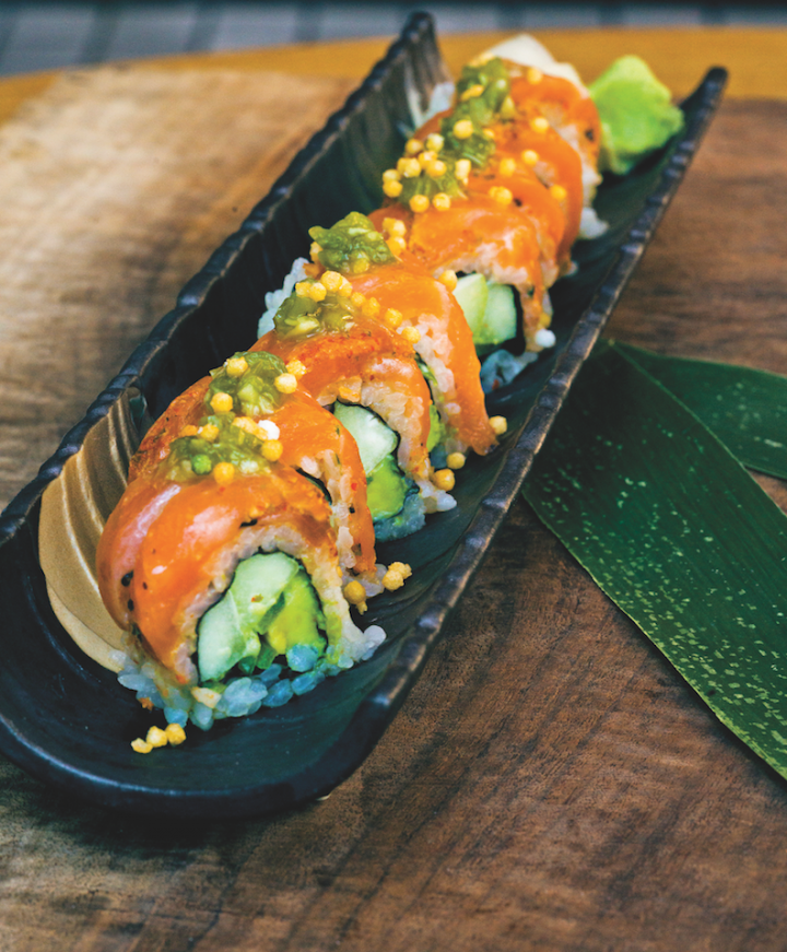 The Gensai Roll at Sushi Roku is made up of seared togarashi salmon, kizami wasabi, and avocado.
