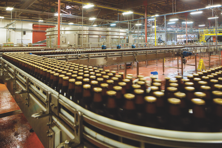 Lagunitas produces a wide variety of year-round and seasonal labels (bottling line pictured).