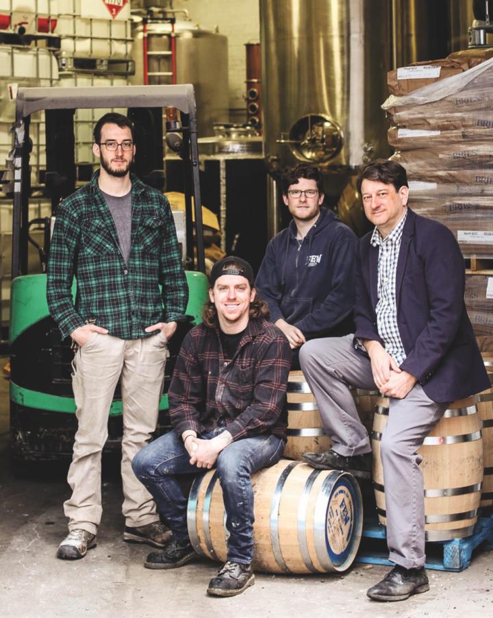 Based in Chicago, F.E.W. Spirits (Sam Bielawski, Skyler Retzlaff, Steven Kaplan, and founder Paul Hletko pictured) has garnered a national audience.