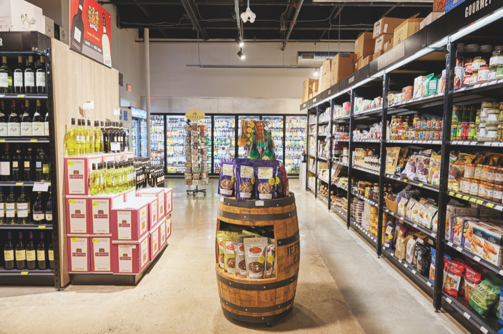 In addition to wine, beer, and spirits, Gary's also offers a variety of gourmet groceries, including a selection of cheese, charcuterie, and bread.