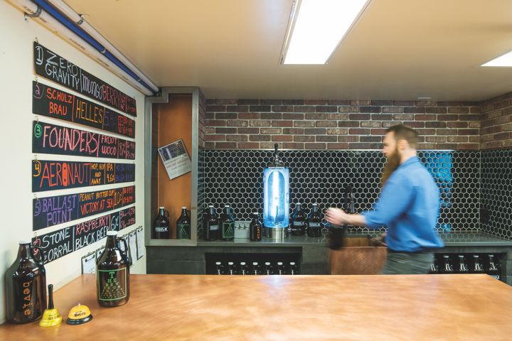 The growler bar (pictured) at Beverage Warehouse pours six different brews, with options ranging from small-batch local beers to nationally available offerings.