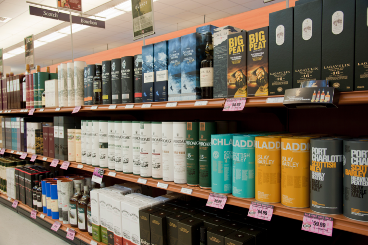 Whiskies (Scotch whisky selection at Nashua location pictured) are a major growth driver for the NHLC.
