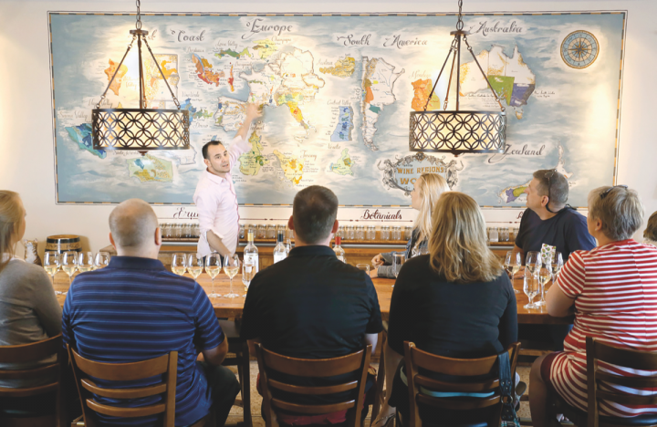 Imported wines reign supreme at MJ's Wine Bar in Portland, Maine (MJ's wine course pictured), where there's a roughly 50-50 split between Old World and New World, as well as a focus on lesser-known regions.