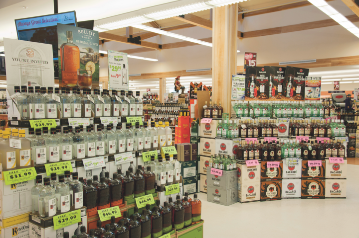 Jack Daniel's and Jim Beam are the leading Bourbon brands by volume in New Hampshire (Hooksett I-93 Southbound location's interior pictured).