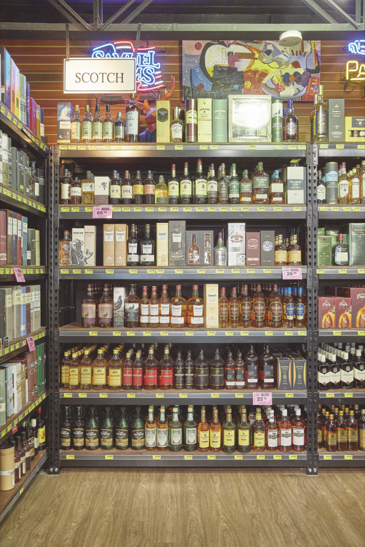 Spirits (whisk(e)y shelf pictured) make up the brunt of sales at Jensen's, with Bourbon, Japanese single malts, and single barrel selections driving sales. High-end craft labels are popular with consumers.
