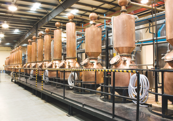 For Pátron (copper pot stills pictured), collaborations have been a major contributor to recent success. Its partnership with director Guillermo del Toro was so popular that the company is doing another limited-release run of the special packaging.