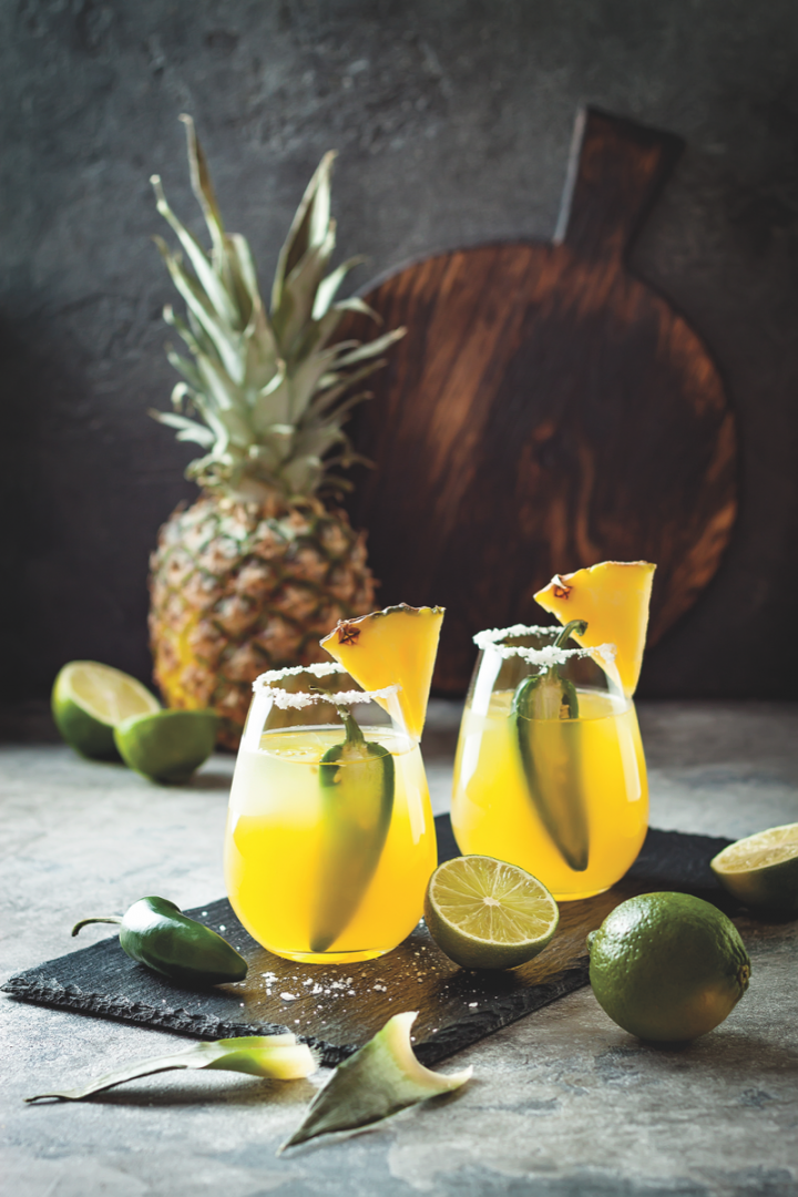 Upscale and 100% agave Tequilas have received a boost from the craft cocktail renaissance (spicy pineapple Margaritas with jalapeño and lime pictured), with consumers learning about new brands on-premise.