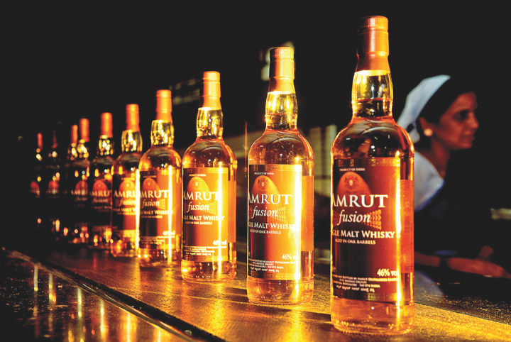 Three Indian single malts are now available in the U.S., including Amrut Indian whisky (pictured), which grew over 10% last year.