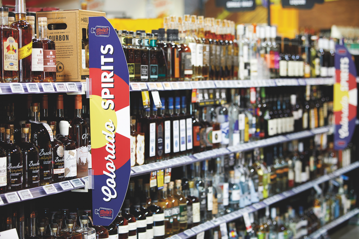 At Molly's Spirits (pictured) in Lakeside, Colorado, 100 linear feet of hometown spirits greet consumers as they walk in the door.