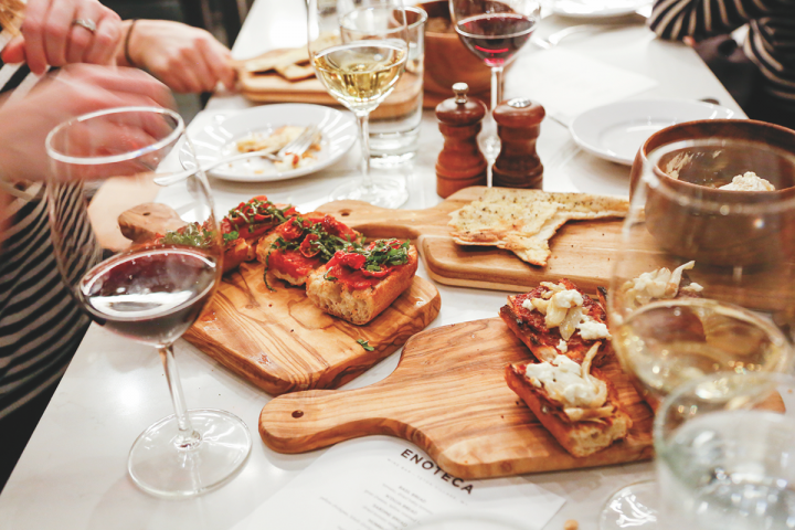 Bar Enoteca offers a vast selection of wine and small plates (pictured).