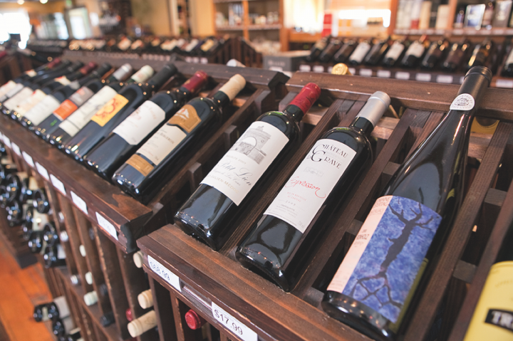 One of two on- and off-premise hybrid shops from Fine Dining Restaurant group, Bin22 wine bar and bottle shop (wine store selection above) sells hundreds of bottled wines, many of which are found in the group's restaurants.