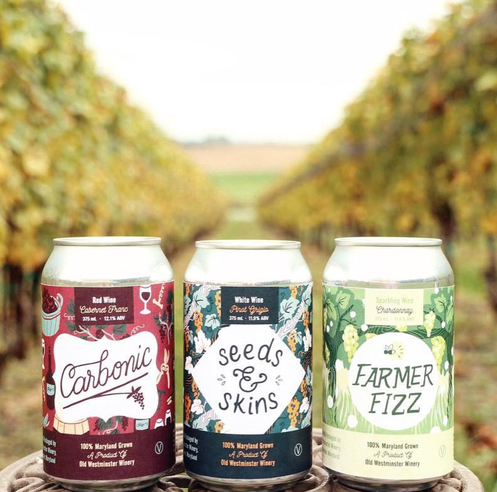 Dave Shierling, wine department manager at Wilbur's Total Beverage Wine & Spirits in Fort Collins, Colorado, believes canned wines (Old Westminster Winery in New Windsor, Maryland canned wine above) are here to stay.