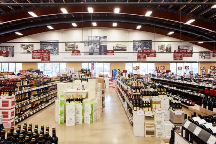 An average Binny's location (Lincolnwood wine aisles pictured) is 25,000 square feet, with the largest store in the city of Chicago at 50,000 square feet.