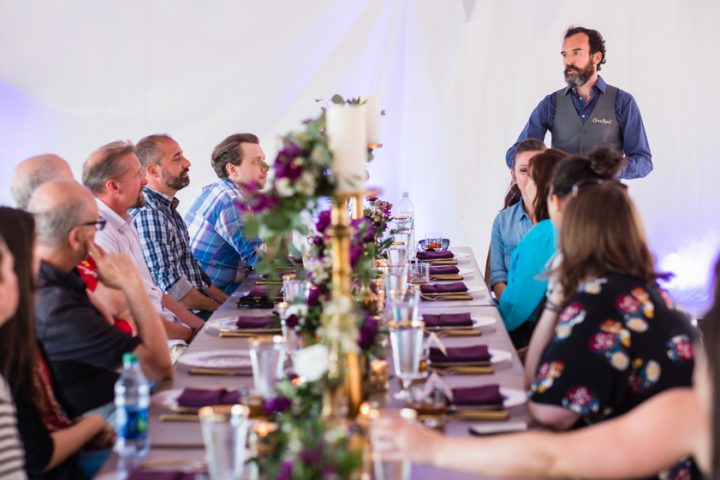 Crown Royal (dinner event with national brand ambassador Stephen Wilson pictured) is the leading Canadian whisky brand in the U.S., making up over 30% of the category's volume, thanks to flavors like Regal Apple and Vanilla.