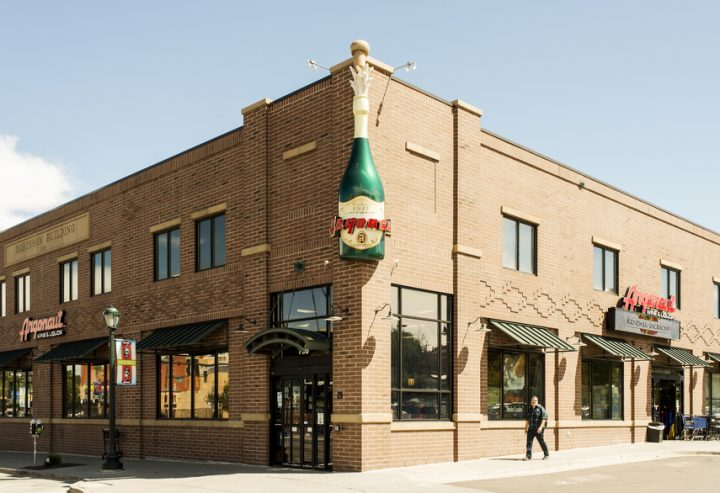 Argonaut Wine & Liquor in Denver (exterior pictured) takes advantage of the wine holiday packaging and displays that are offered by suppliers, using them to create the store's holiday vibe each winter.