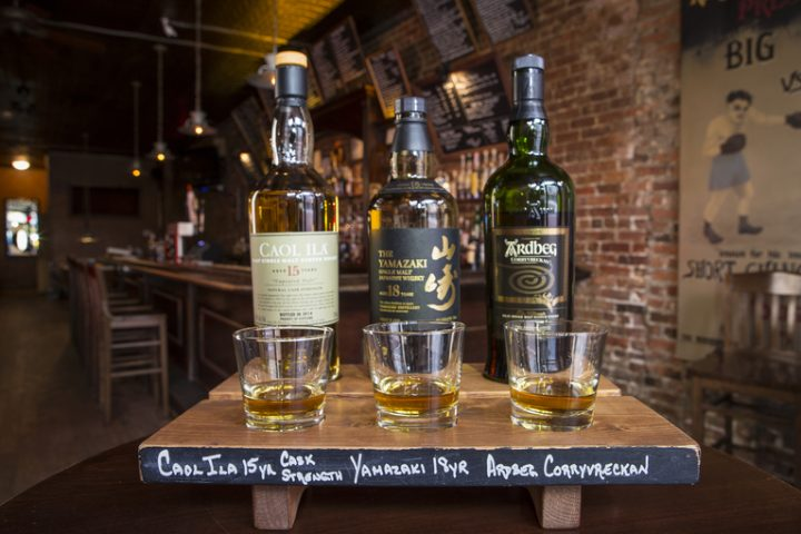 At the Whiskey Ward in New York City, guests use whisk(e)y flights (pictured) to discover and learn more about different single malt brands, such as Caol Ila and Ardbeg.