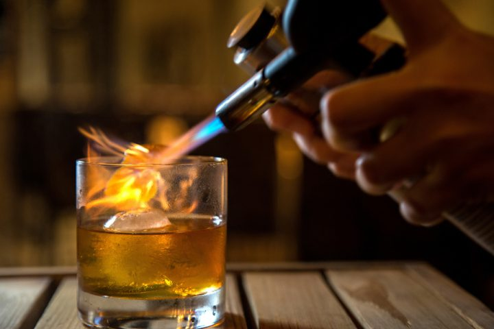 The Stoke Fashioned (pictured) from Stoke in Charlotte, North Carolina uses a bar-exclusive version of Maker's Mark Private Select and torches Angostura bitters to make the classic cocktail unique.