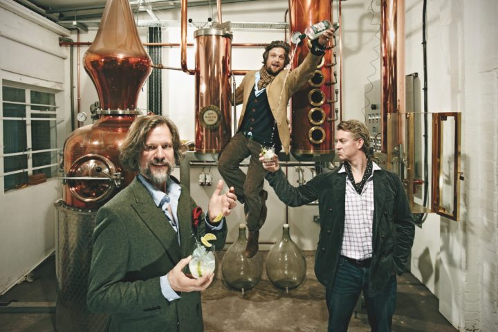 At Sipsmith Distillery in London, founders (above, from left) Jared Brown, Sam Galsworthy, and Fairfax Hall have found success through their fresh approach to the gin category, which includes innovating on the basic Gin & Tonic formula.