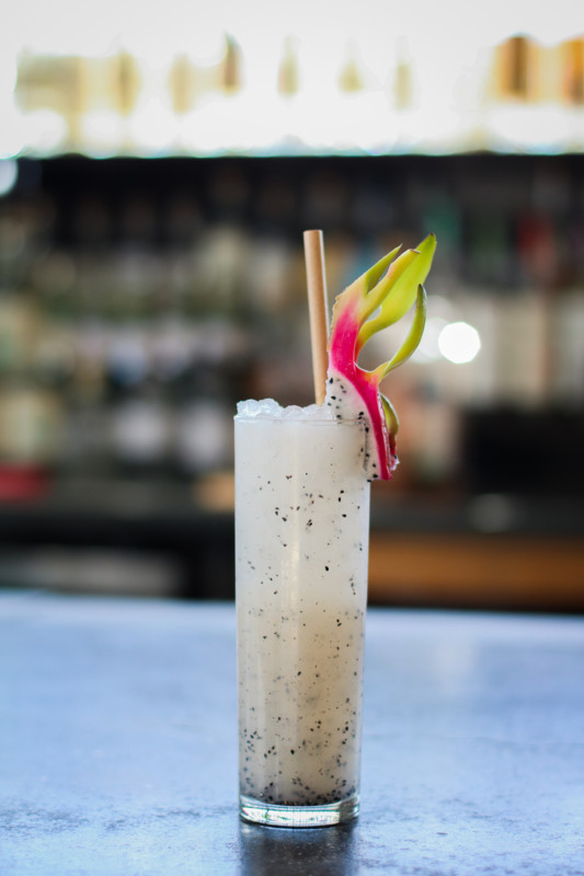 Los Angeles restaurant Salazar serves several alcohol-free aguas frescas, including the Fruta del Dragón (above), made with pureed dragon fruit, lemon juice, water, and sugar.