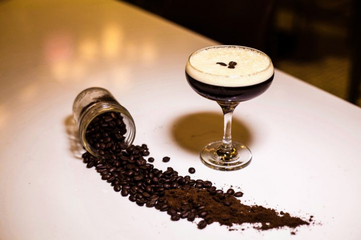Trademark Taste + Grind's Espresso Martini (above) comprises Spring 44 Honey vodka, cold brew coffee, Mr. Black Cold Brew Coffee liqueur, and salted honey.