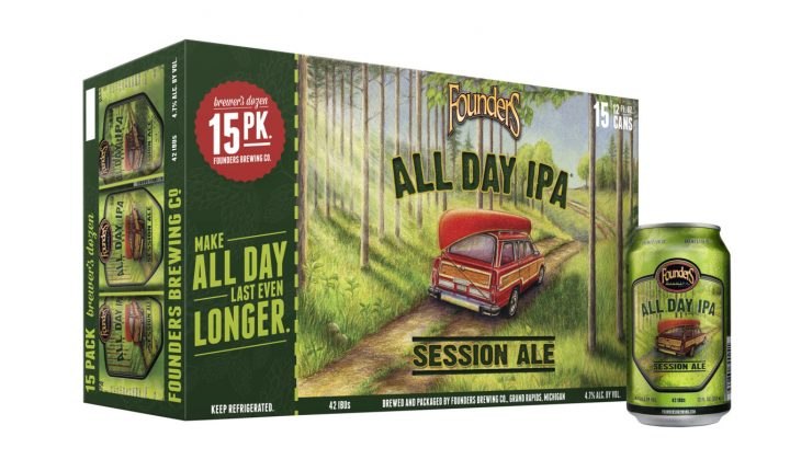 Sales of Founders Brewing Co.'s All Day IPA (15-pack pictured) jumped 21% last year to 4.5 million cases.