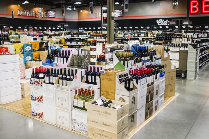At 7,000 SKUs, wine (display pictured) comprises 34% of sales at Molly's, with popular categories including domestic red wine, imported sparkling wine, and rosé. Organic offerings, which are rotated in a sizable display at the front of the store, also sell well.
