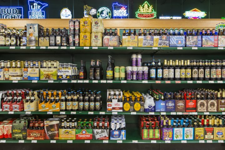 Although wine is the focus at Haskell's, beer (shelves pictured) makes up 18% of sales, with the section comprising both craft and big-name offerings.