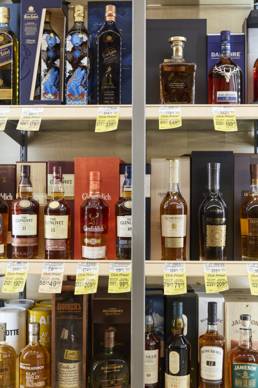 Markert has gradually made spirits a more important feature of the beverage alcohol program at Vons, Albertsons, and Pavilions stores. High-end whiskies (Laguna Niguel Pavilions whisk(e)y display pictured), in particular, now dominate shelves.