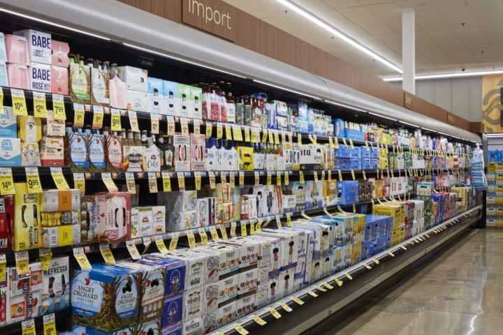 Beer (coolers at Laguna Niguel Pavilions pictured) accounts for 27% of sales across Vons, Albertsons, and Pavilions, making it the retailer's second-largest category. Craft brands, namely those from local breweries, drive the majority of sales.