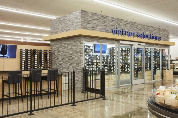 The wine cellar (pictured) at each newly remodeled Pavilions store is stocked with luxury, cult wines from the likes of Napa Valley's Caymus Vineyards.