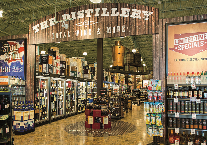 Chief technology officer Tom Kooser says that Total Wine's (spirits aisle pictured) online presence, particularly on Facebook, Instagram, and Twitter, is an extension of the chain's exceptional customer service.