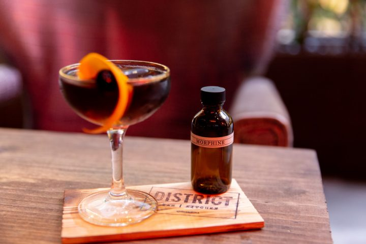 District's Morphine cocktail (pictured) is made with Laird's applejack infused with oyster, porcini, and morel mushrooms, then mixed with Punt e Mes vermouth, Cynar amaro, and Fee Brothers Walnut bitters.