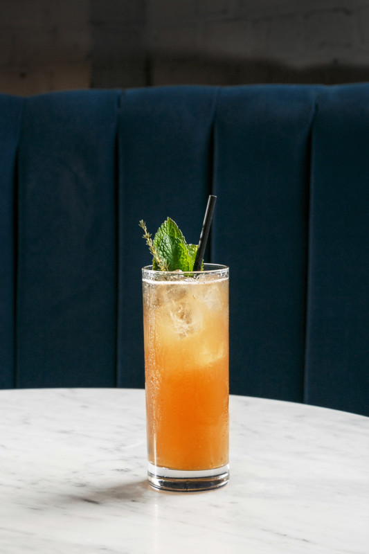 At its on-site Monogram Lounge, Kansas City, Missouri craft distiller J. Rieger & Co. uses its J. Rieger Kansas City whiskey—which includes a small addition of 15-year-old Oloroso Sherry—in cocktails such as the American Royale (pictured).
