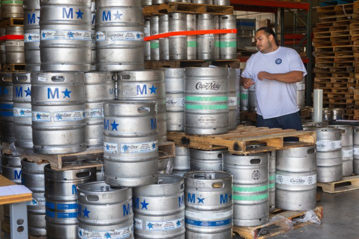 To ensure consumers get the freshest beer possible, many brewers have turned to self-distribution. Cape May Brewing (kegs pictured) launched its Cape Beverage distributor subsidiary earlier this year.