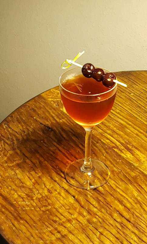 The Jalapeño Business (pictured) from Dichotomy Coffee & Spirits in Waco, Texas is made with a base of Bourbon.