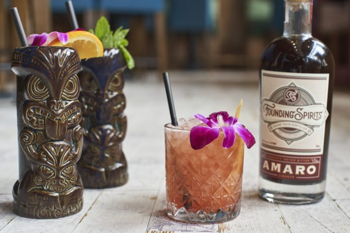 Farmers Fishers Bakers, which is located next to the Potomac River near Georgetown in Washington, D.C., embraces tiki culture with cocktails such as the Amaro Zombie (pictured).