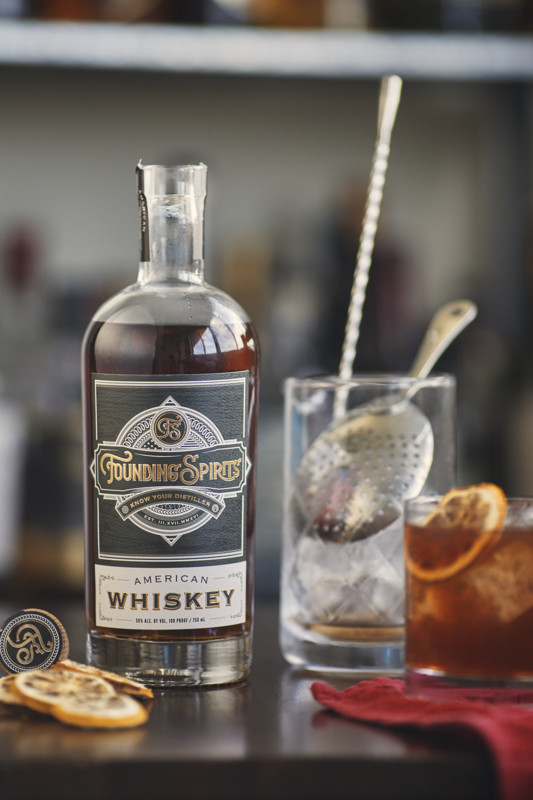 Copper Fox helps to produce Founding Spirits vodka, Founding Spirits American whiskey (pictured), and Founding Spirits Arroyo's Never Bitter amaro, though much of the production for these spirits happens at the facility within Farmers & Distillers restaurant.