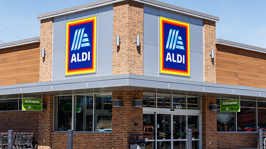 Aldi (store exterior pictured) has partnered with Instacart on beverage alcohol delivery.